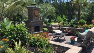 Paver patio and outdoor fireplace in Myrtle Beach