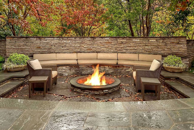 Outdoor living areas fire pits walkways landscaping for Outdoor spaces landscaping